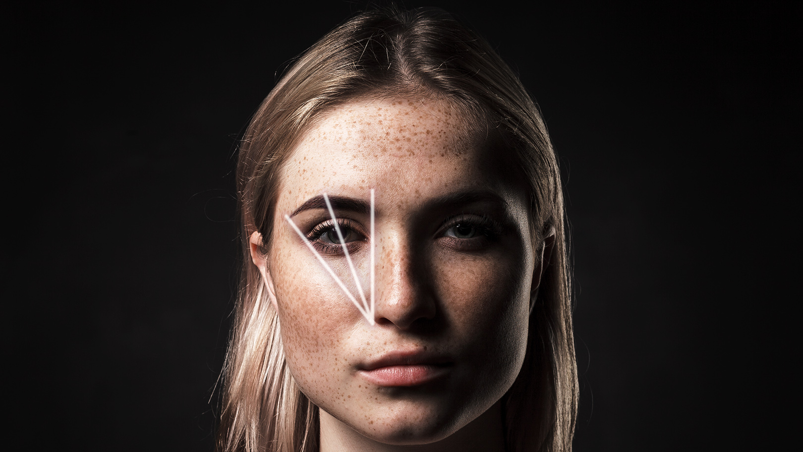 a woman's face with lines showing her face structure