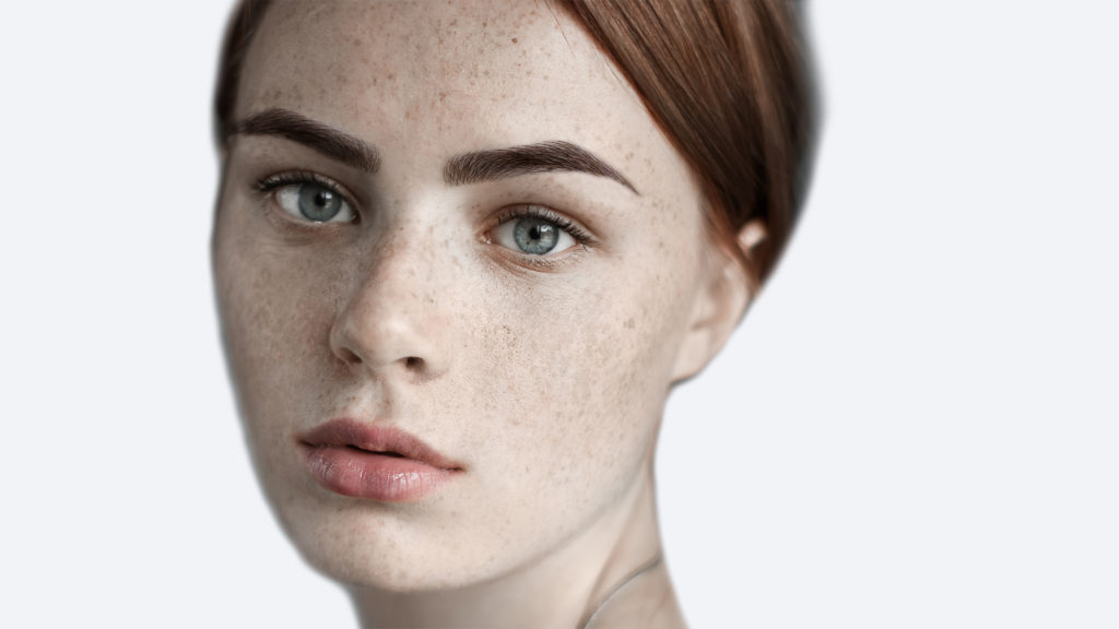 Girl's face with makeup applied